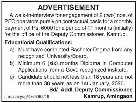 Deputy Commissioner, Kamrup Recruitment 2020: PFC Operator [Walk-in-interview]