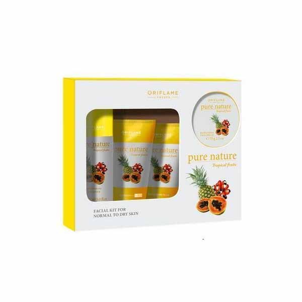 Oriflame Sweden Pure Nature Tropical Fruits Facial Kit In Hindi