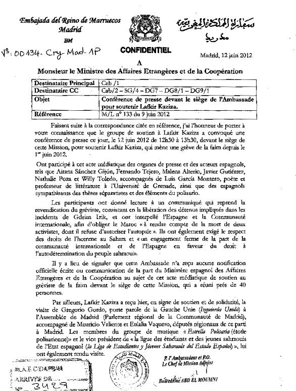 Nota de la Embajada de Marruecos en Madrid sobre la huelga de hambre de Lafkir Kaziza