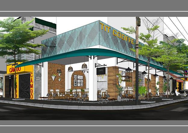 Phối cảnh góc đường của quán cà phê vỉa hè phong cách Sài Gòn