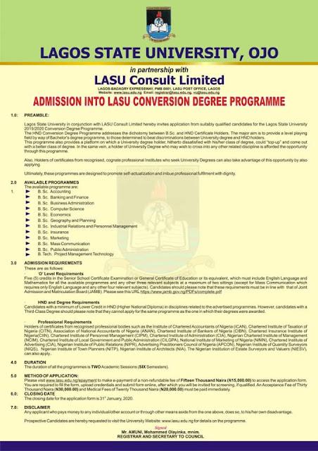 LASU HND/Professional Conversion Top-Up Degree Form 2019/2020