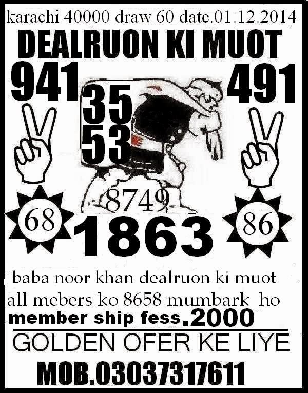 Prizebondnoor: Noor Bhai New Gass Paper 01/12.14