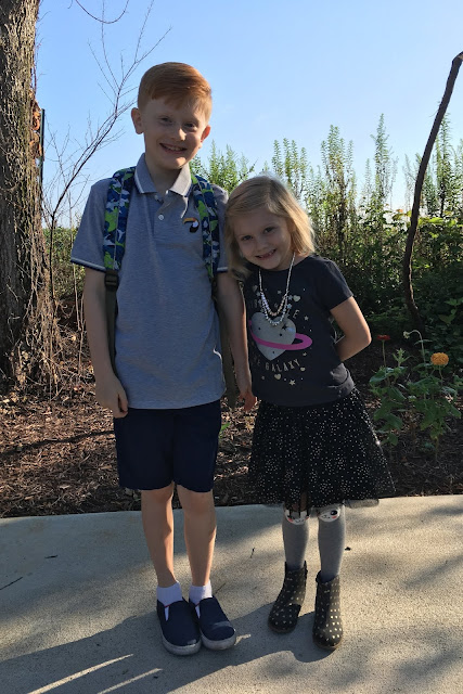 Porter & Stella on Day #2 of School