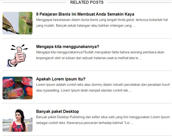 Related Post dengan Thumbnail Model List di Bawah Postingan Blogspot