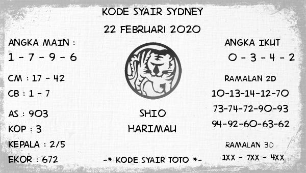 Prediksi Togel JP Sidney 22 Februari 2020 - Kode Syair Toto