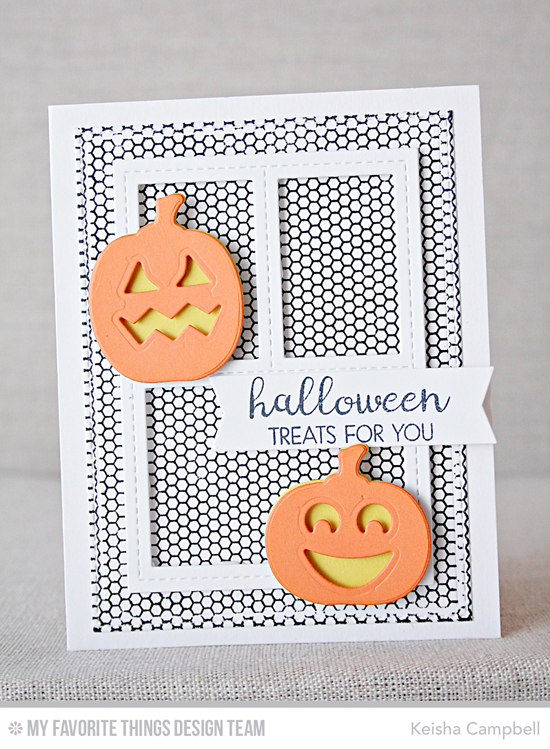 Handmade card from Keisha Campbell featuring Lisa Johnson Designs Spooky Sweets stamp set and Die-namics, Mini Hexagon Background stamp, Blueprints 29 Die-namics #mftstamps