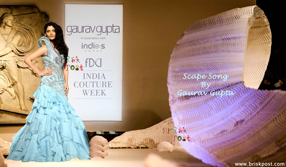 Showstopper Saiyami Kher in Gaurav Gupta at India Couture runway for Scape Song in pastel blue Swarovsky