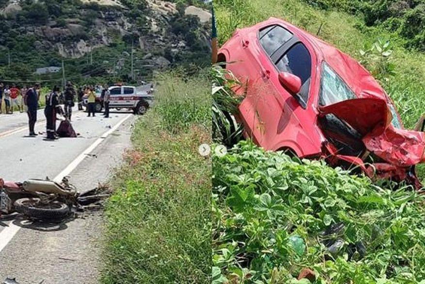 VEJA! Acidente envolvendo um carro e uma moto deixa três mortos no Sertão