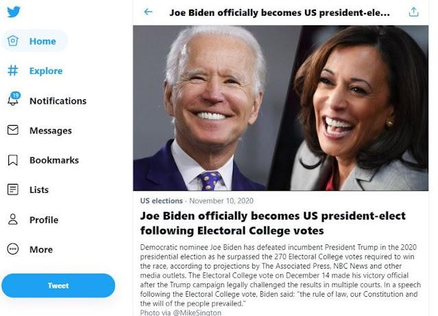 تويتر يعلن فوز بايدن في الانتخابات الرئاسية الأمريكية
