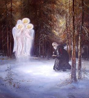 εικ. 1508 μ.Χ. Η Αγία Τριάδα εμφανίζεται   στο Ρώσσο άγιο Αλέξανδρο του Σβιρ   με μορφή παρόμοια με το όραμα του Αβραάμ.