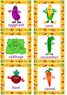 vegetable flashcards English language