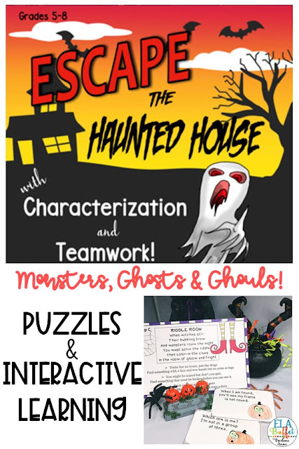Your students will be trapped inside a haunted house forever, unless they can solve a mystery! Can they #ESCAPE? #closereading  #middleschool #breakout #classroomescaperoom #FunELAActivity  #teacher #middleschoollesson #HalloweenParty #Halloween #HauntedHouseMystery #hauntedhouse #halloweenescaperoom #halloweenbreakout #teambuilding #middleschoolelalesson
