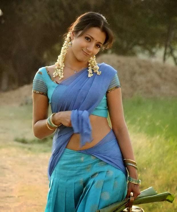 Trisha Hot Navel Show Pics HD In Blue Half Saree