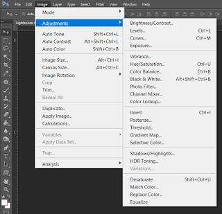 Photoshop Image Adjustment menu with sidebar adjustments
