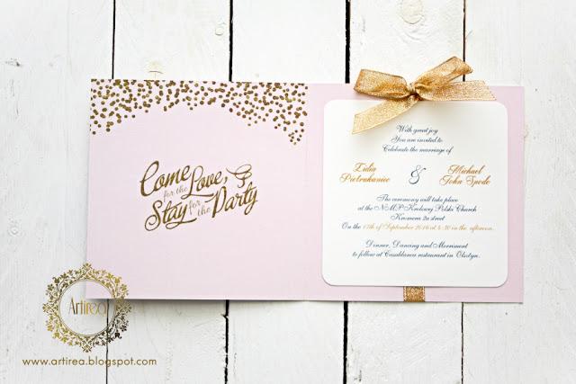 rozowo zlote zaproszenia slubne brokat artirea oryginalne eleganckie