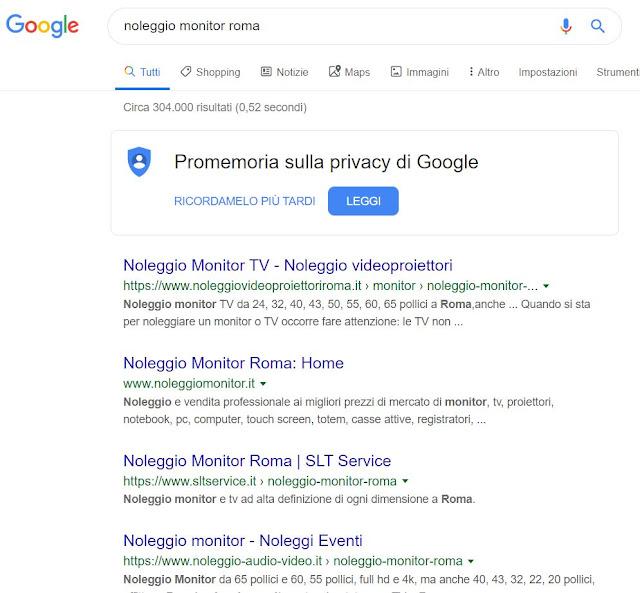 SEO noleggio per ricerca Monitor
