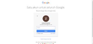 Gambar  kolom untuk memasukkan email dan password gmail
