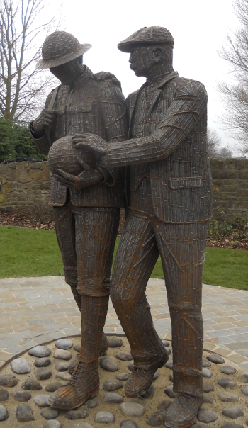 Statue in Witton Park memorial garden, by Ray Lonsdale, photo by Gill Parkes