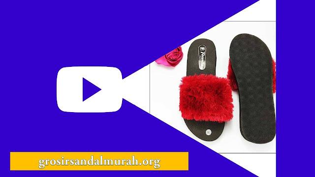 Grosirsandalmurah.org - Wedges - Wedges Slop Bulu Simplek