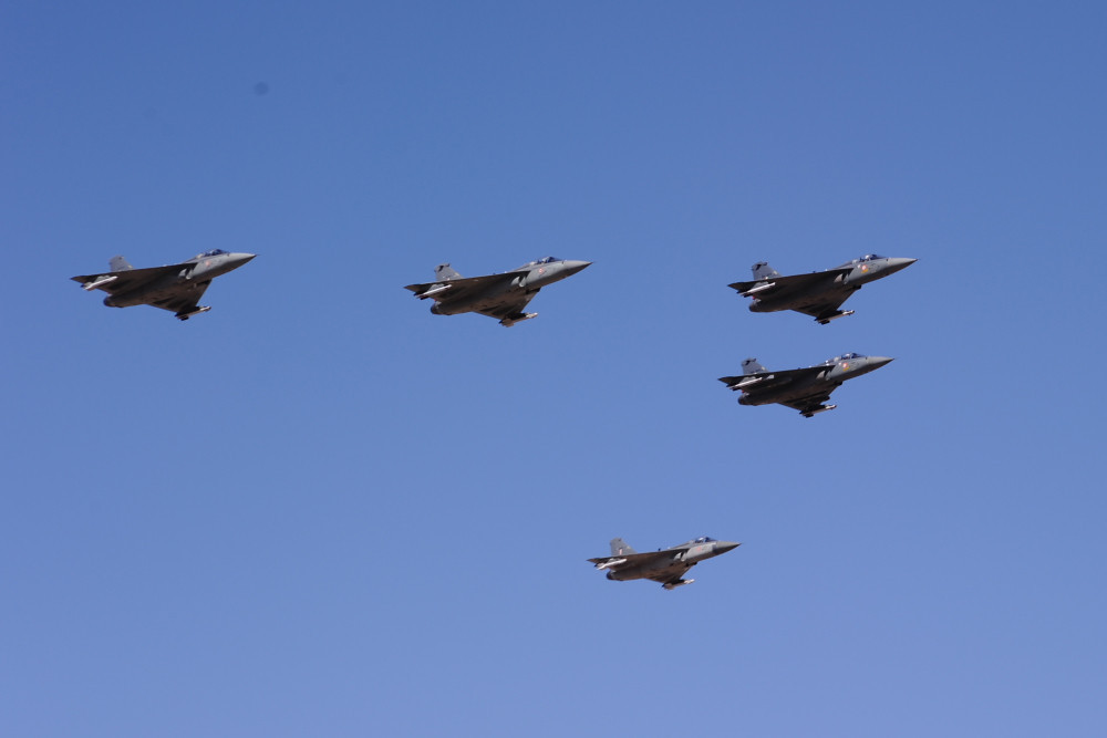 LCA (Light Combat Aircraft) Tejas Fighter Jets Flying In