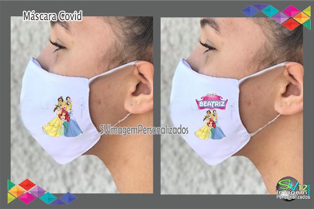 Máscara em tecido As Princesas  Disney dicas e ideias para decoração de festa personalizados