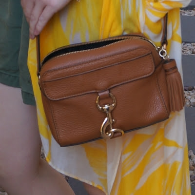 Rebecca Minkoff MAB Camera Bag in almond with yellow kimono | away from the blue