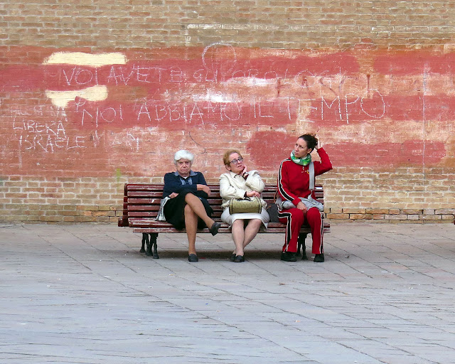 Bench with graffiti, Campo Santo Stefano, San Marco, Venice