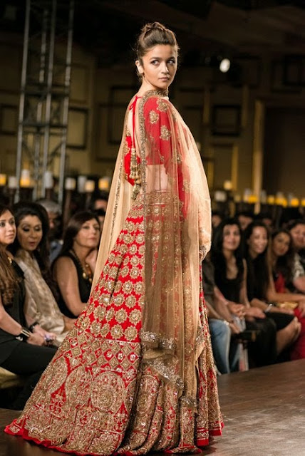 Alia Bhatt Stuns in Red Lehenga at India Couture Week