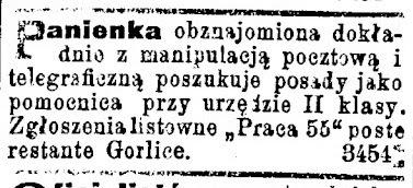 Gorlice 1901 ogłoszenie poczta
