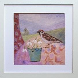 snowdrop, flowers, bird, original painting, Bee Skelton