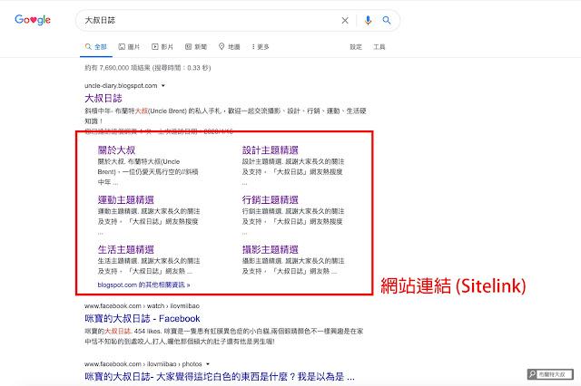 【網站 SEO】注意這些 Google 現象,網站 SEO 成果已經開始發酵! (網站、部落格都適用) - 網站連結 (Sitelink) 和網站可信度有關