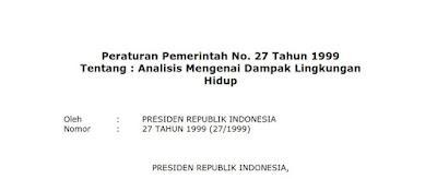 peraturan pemerintah no 27 tahun 1999