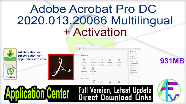 Adobe Acrobat Pro DC 2020.013.20066 Multilingual + Activation