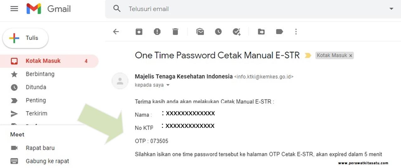 Cek kode OTP yang dikirimkan ke email STR