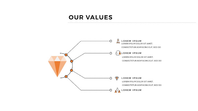 Infographic Values Statements Free PowerPoint Template with 4 Descriptions