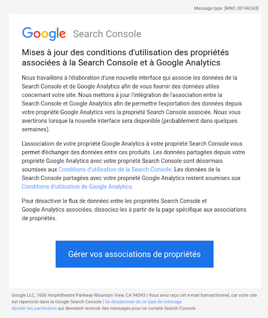 Mises à jour des conditions d\'utilisation des propriétés associées à la Search Console et à Google Analytics.