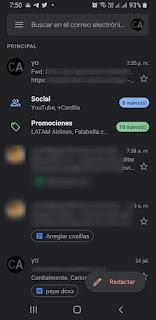 Bandeja de entrada en App de Gmail Android modo oscuro