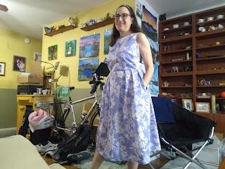 Classic Dress with pockets, blue poplin
