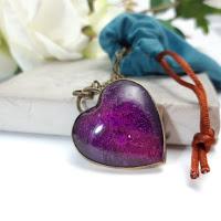 miedziane serce z fioletową żywicą - Bibi Blue