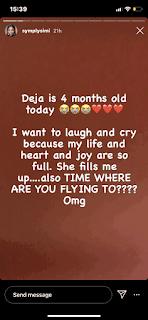 'Deja Is 4 Months Today' - Singer Simi Celebrates Daughter, Adejare