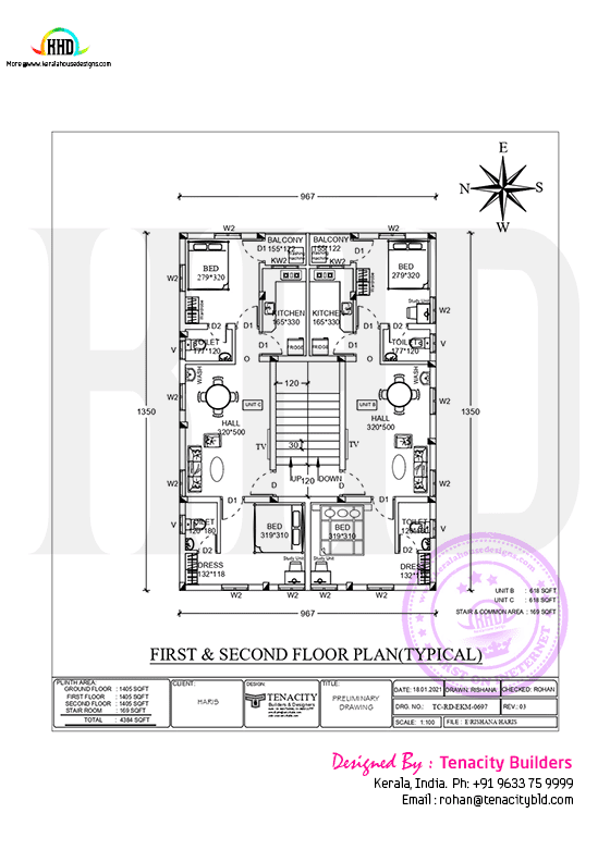 Apartment first and second floor plan