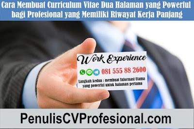Jasa Profesional Pembuatan Curriculum Vitae dan Surat Lamaran
