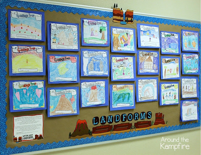 Landforms writing project bulletin board