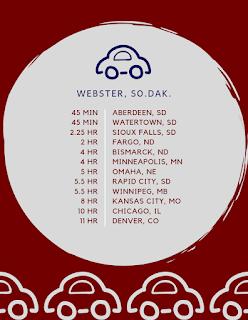 webster, south dakota, driving distance chart