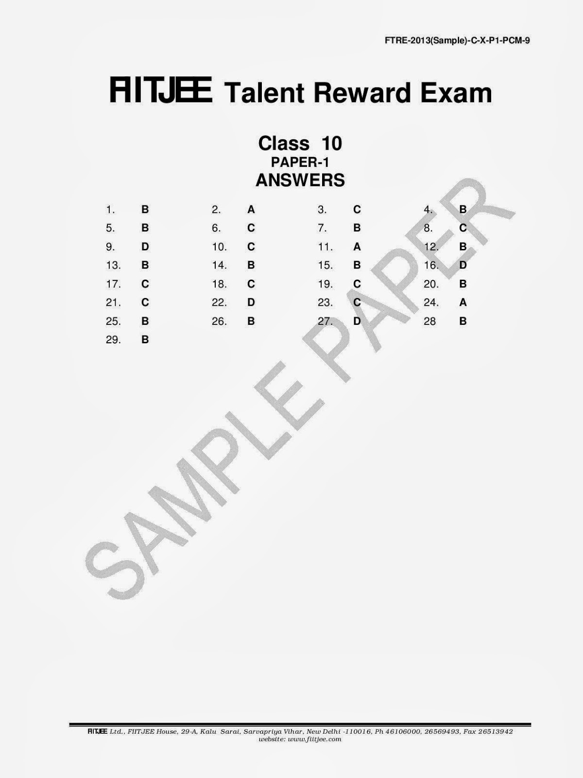 FTRE exam Sample Papers