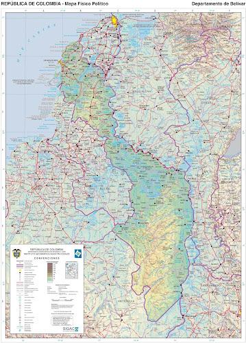 Mapa da Colômbia - Departamento de Bolivar