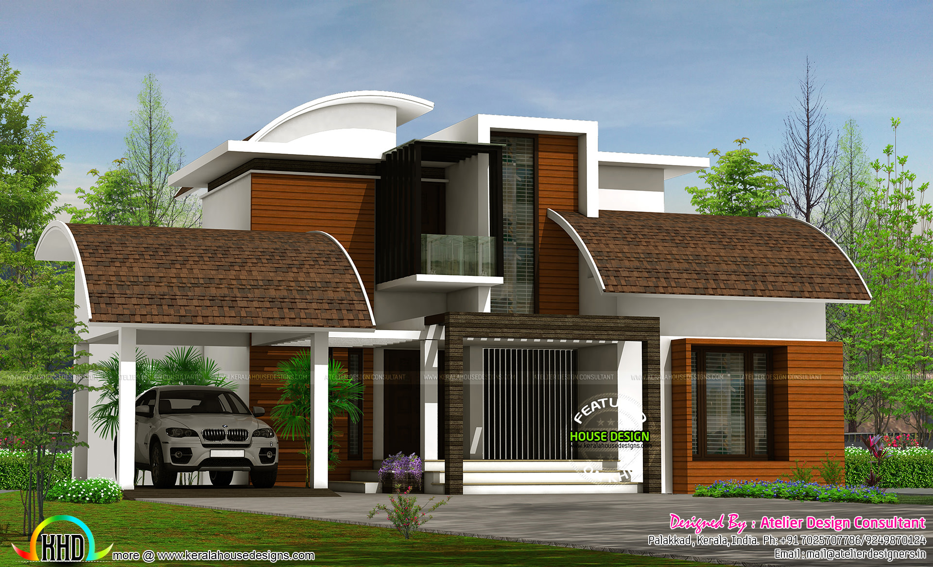 Contemporary style semi curved roof mix home kerala home for Curved roof house plans