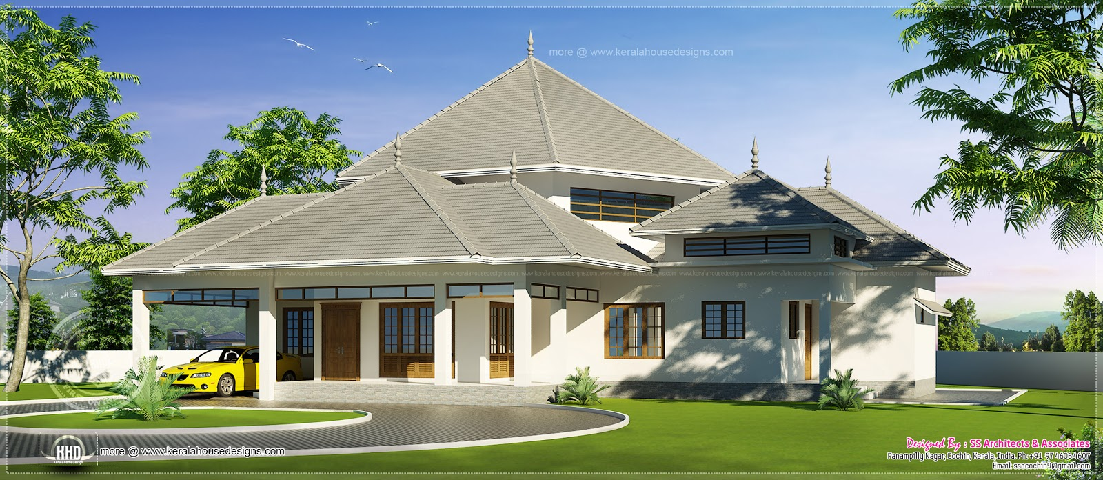 Kerala style modern roof house in 2600 kerala for Most popular one story house plans