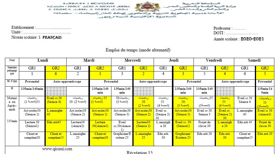 استعمالات الزمن لجميع المستويات /فرنسية / التعليم بالتناوب 2022-2021