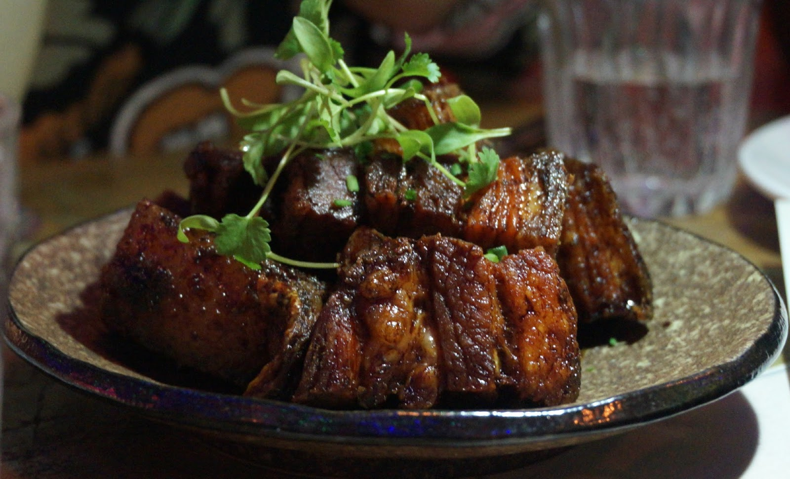 Slow cooked, crispy fried pork belly in a sweet soy sauce